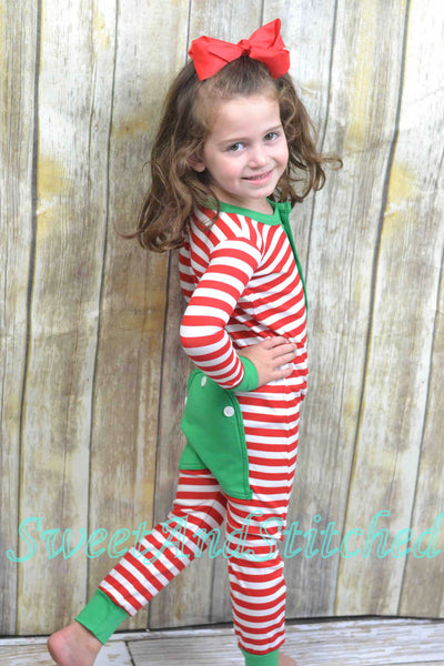 Kids monogrammed Christmas Gingerbread Pajamas (pjs, jammies) with faux butt flap