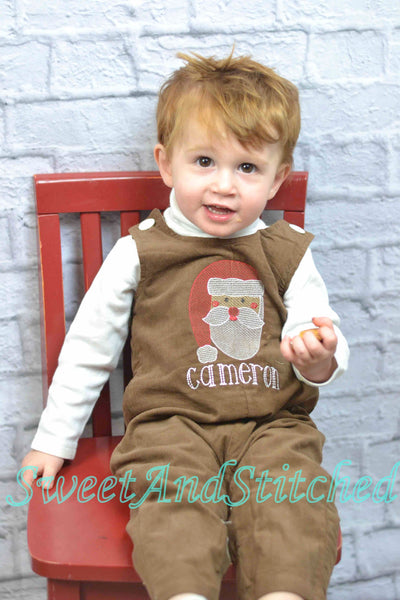 Baby Boy Christmas outfit with Santa face and name in vintage style, boys corduroy Santa overalls personalized