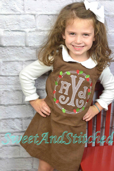 Girls Monogrammed Christmas Dress, monogrammed Sibling Christmas outfits