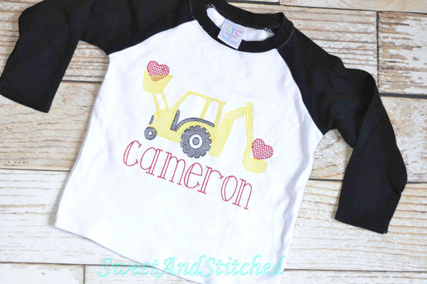 Boys monogrammed Valentine's shirt with truck and hearts, personalized boys Valentine shirt
