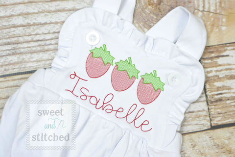 Monogrammed baby girl ruffle bubble with strawberries, girls summer strawberry outfit
