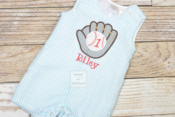 Monogrammed Boys baseball outfit, toddler baseball romper or jon jon