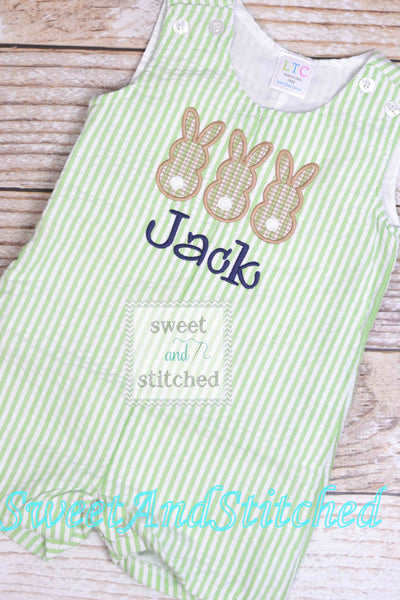 Baby Boy monogrammed Easter outfit with bunnies, toddler boys easter romper or jon jon, choose your design, name or monogram
