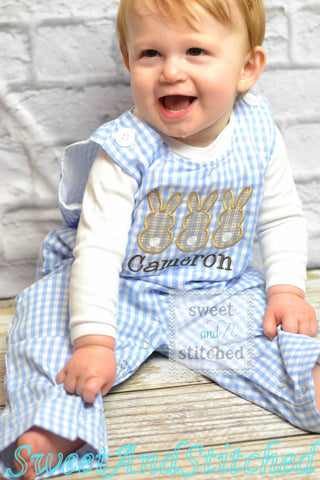 Personalized Boys Easter outfit with bunny design and name - Baby Boy Easter Outfit, Easter overalls
