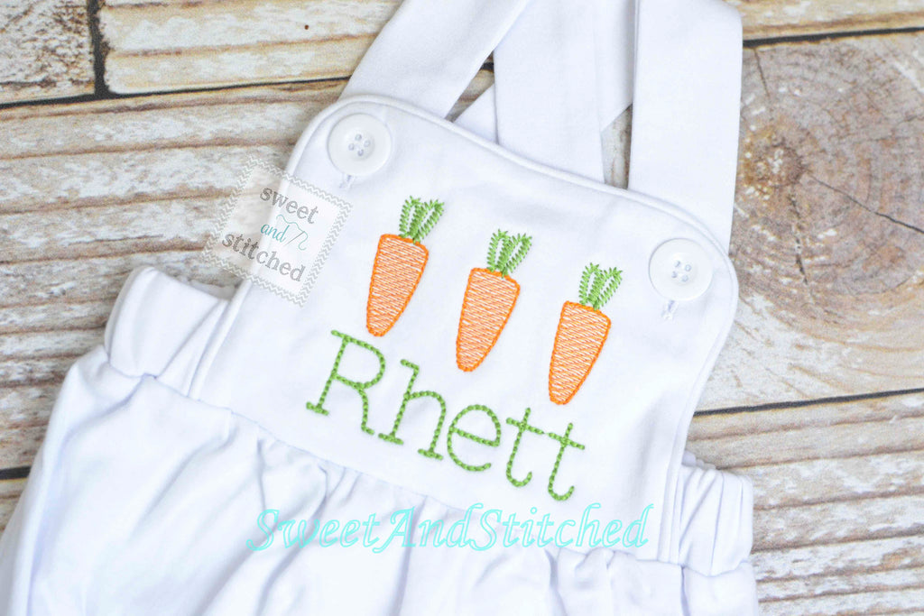 Monogrammed boys easter romper, Boys easter outfit with carrots