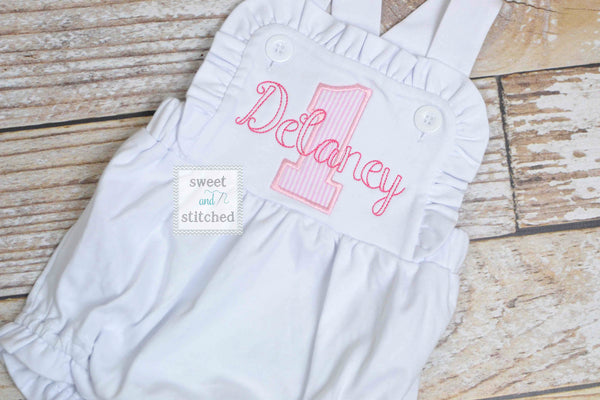 Monogrammed baby girl cake smash outfit with 1 and name, girls birthday bubble outfit