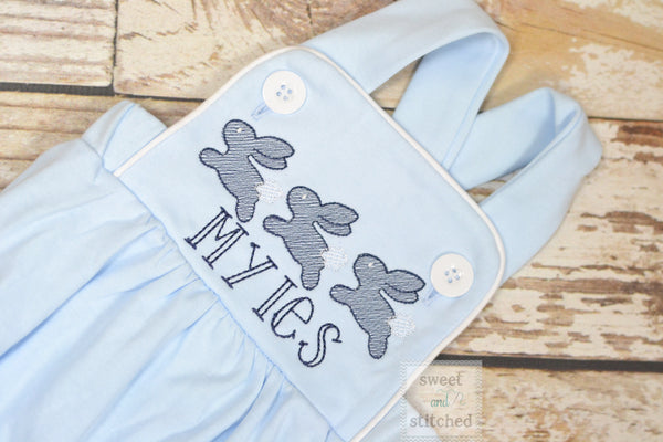 Monogrammed boys easter romper in baby blue, Boys easter outfit with running bunnies