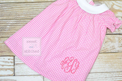 Monogrammed pink gingham bishop dress, pink toddler dress