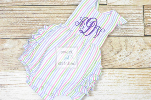 Monogrammed baby girl rainbow ruffle bubble, Seersucker girls bubble monogrammed
