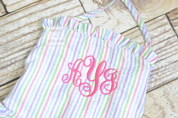Girls Monogrammed rainbow Swimsuits, girls seersucker 1 piece swimsuit