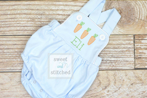 Monogrammed boys easter romper in baby blue, Boys easter outfit with carrots