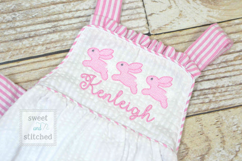 Monogrammed baby girl seersucker Easter romper with bunnies, girls cross backed bubble