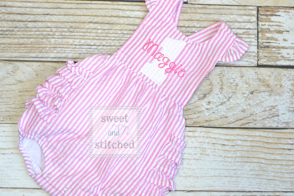 Monogrammed 1st birthday outfit, 1st birthday romper