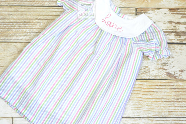Monogrammed rainbow seersucker bishop dress, toddler dress