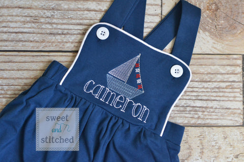 Monogrammed baby boy sailboat outfit, monogrammed boys beach romper