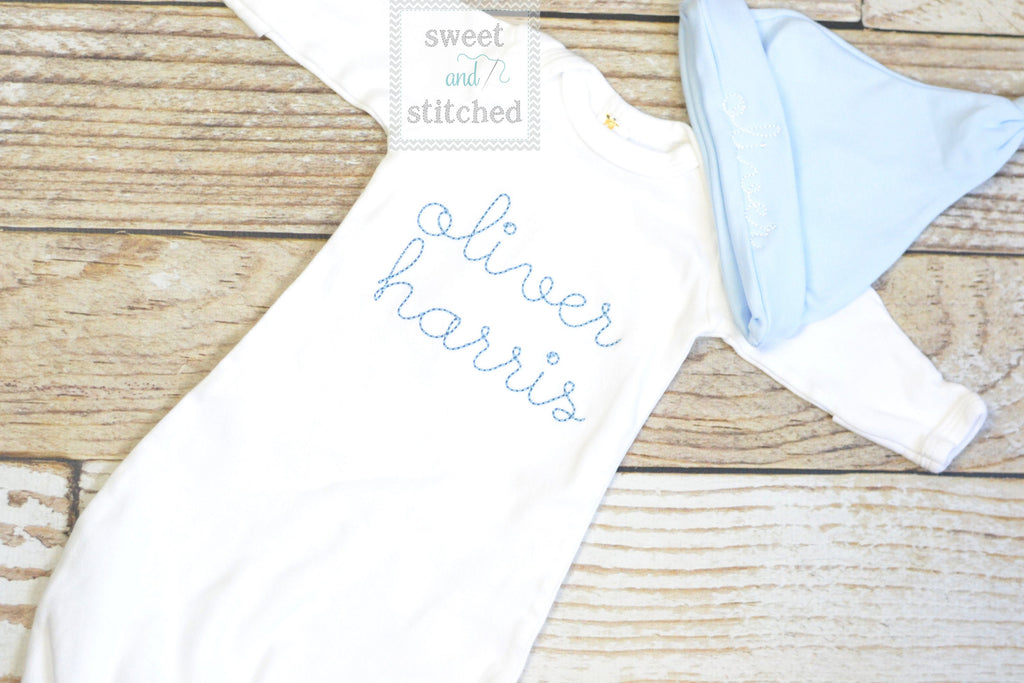Baby boy monogrammed gown white and baby blue, baby boy take home outfit