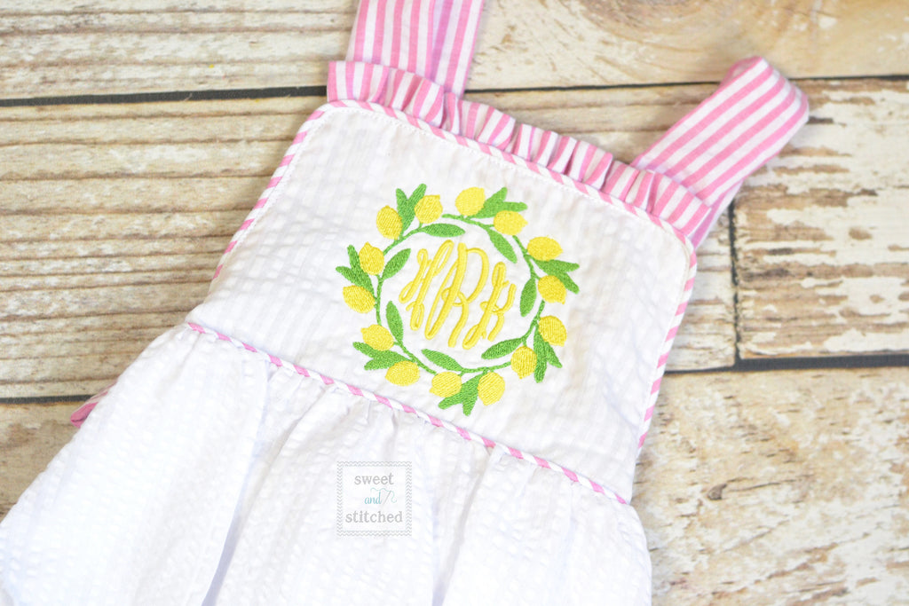 Monogrammed baby girl ruffle bubble with lemons, pink lemonade birthday outfit