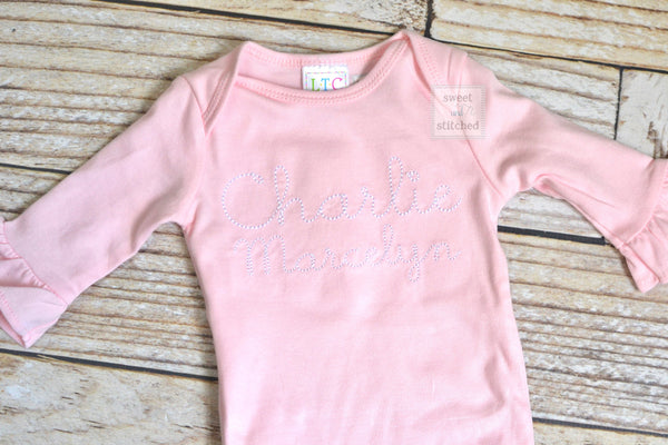 Baby girl monogrammed gown white and baby pink, baby girl take home outfit