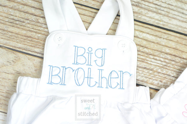 Monogrammed big brother outfit, boys cross backed bubble
