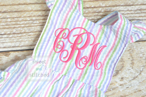 Monogrammed baby girl rainbow ruffle bubble with hot pink monogram, Seersucker girls bubble monogrammed