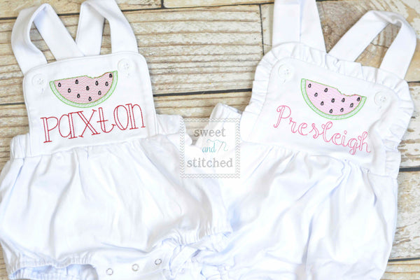 Monogrammed baby girl ruffle bubble with watermelons, girls summer watermelon outfit