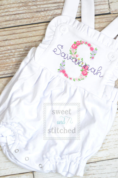 Monogrammed baby girl ruffle bubble with Floral monogram, girls spring flower outfit