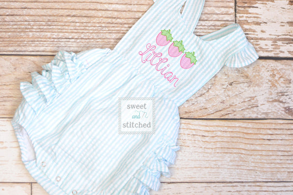 Monogrammed baby girl ruffle bubble with strawberries in pink and aqua, summer strawberries outfit