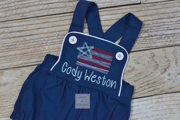 Boys 4th of July monogrammed outfit, boys patriotic bubble romper with vintage style flag design
