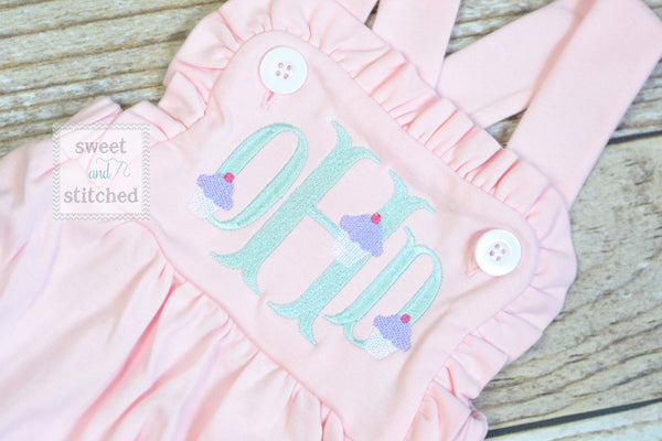 Monogrammed baby girl cake smash outfit with cupcake monogram, girls birthday bubble outfit