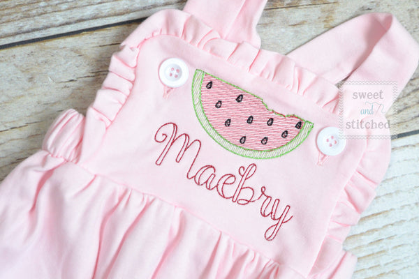 Monogrammed baby girl pink ruffle bubble with watermelons, girls watermelon outfit