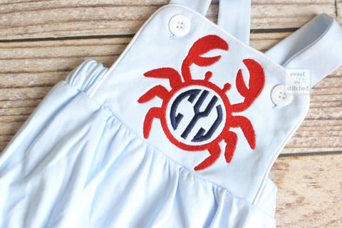 Monogrammed baby boy sunsuit in light blue with crab monogram, monogrammed boys romper