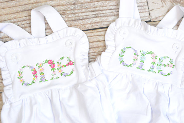 Embroidered baby girl cake smash outfit with floral ONE design, girls birthday outfit