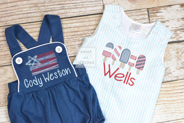 Monogrammed Boys Romper, Boys 4th of July Outfit