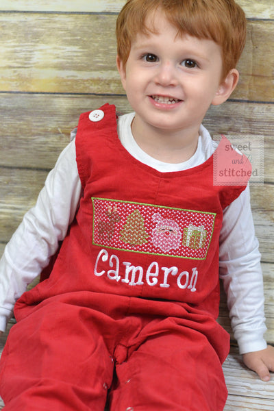 Personalized Baby Boy faux smocked Christmas outfit, red corduroy monogrammed Christmas overalls