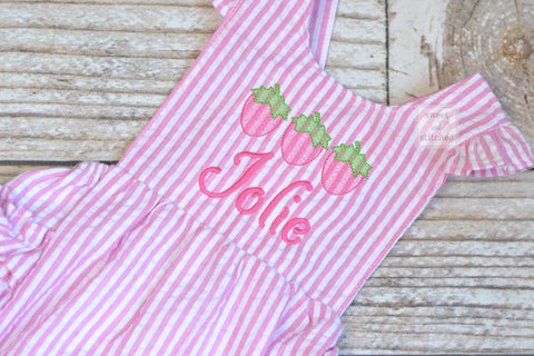 Monogrammed baby girl ruffle bubble with strawberries in pink, summer strawberry outfit, 1st birthday strawberry cake smash outfit