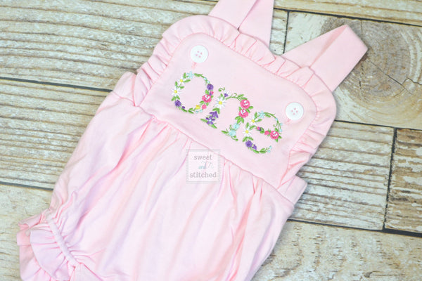 Embroidered baby girl pink cake smash outfit with floral ONE design, girls birthday outfit