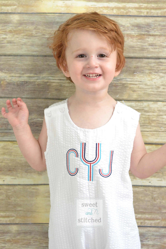 Monogrammed Boys Jon Jon, Red White and Blue Monogrammed outfit