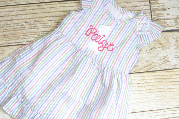 Monogrammed Seersucker 1st Birthday dress, toddler dress