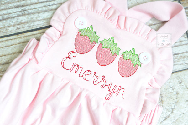 Monogrammed baby girl pink ruffle bubble with strawberries, girls strawberry outfit
