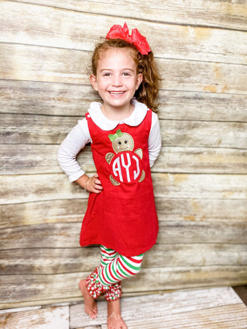 Girls Christmas Gingerbread dress - Monogrammed Christmas Gingerbread jumper dress- Corduroy Christmas jumper