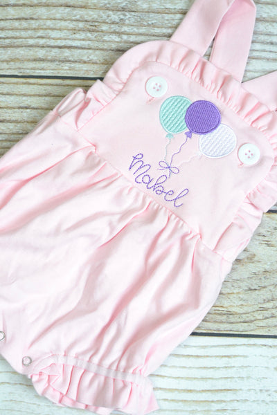 Monogrammed baby girl cake smash outfit with ballons, girls birthday bubble outfit