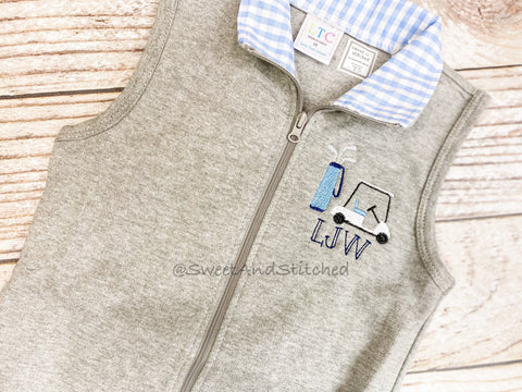 Monogrammed Boys golf outfit, boys golf vest