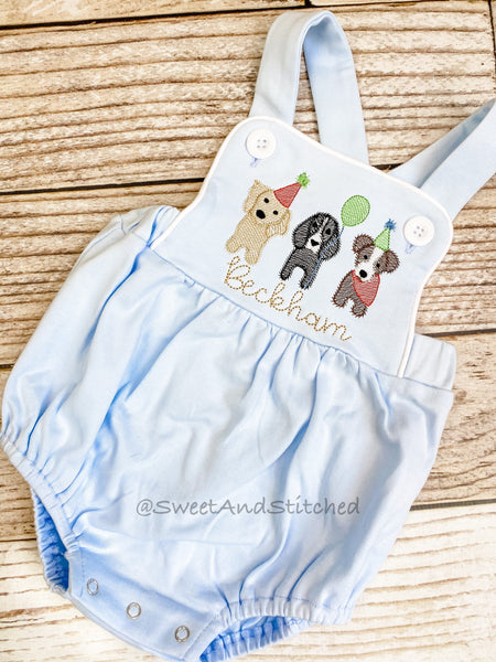 Monogrammed baby boy Birthday romper with puppies, dog birthday outfit