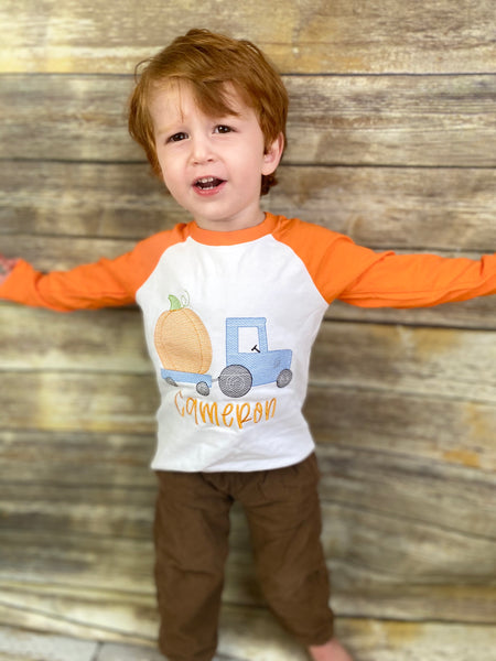 Boys monogrammed pumpkin shirt (raglan) with vintage truck design and name