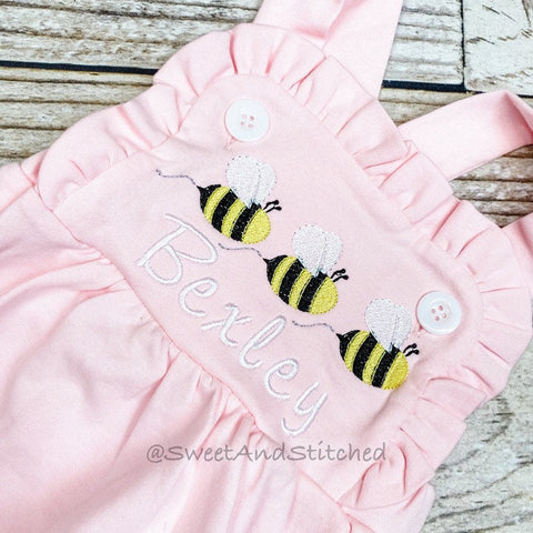 Monogrammed girls bee birthday outfit with number and name, girls birthday bumble bee cake smash outfit