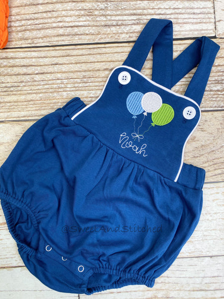Monogrammed baby boy Birthday romper with balloons in navy, personalized boys bubble
