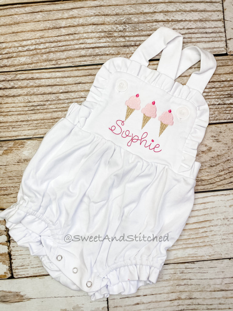 Monogrammed baby girl ruffle bubble with ice cream, girls summer ice cream cone outfit
