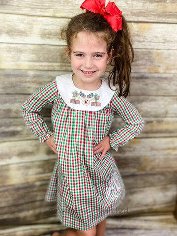 Girls monogrammed Christmas Bishop dress, Christmas Plaid monogrammed dress