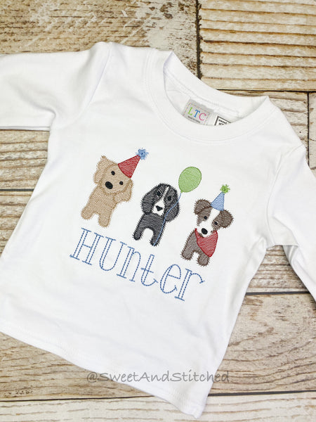 Boys First Birthday Shirt or tee with dogs designs