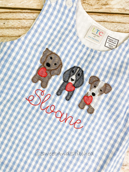 Monogrammed boys Valentine's overalls with dogs and hearts design in light blue gingham, boys valentine's longall